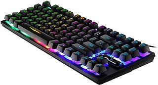 freneci 87 Key Mechanical Gaming Toetsenbord, RGB Rainbow Backlit, voor Windows PC-spelers