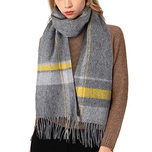 FTAKRY Bufanda a cuadros para mujer, 100 % lana, bufanda de invierno con borla, cálida y suave, a cuadros, moderna, cálida y transpirable, para invierno, Gris + amarillo.,