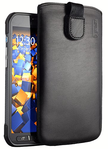 mumbi Borsa in vera pelle compatibile con Samsung Galaxy S5 Active, (Linguetta con funzione di retrazione, supporto estraibile), nero