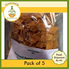 """Grand Sweets & Snacks (GSS) Ribbon Pakoda (Pack of 5) Each Ribbon Pakoda Packet is 250 Gms (8.82 oz) Original Product of """"THE GRAND SWEETS AND SNACKS-CHENNAI"""" 250g x 5 Pkts (Total 1250 Gms)"""