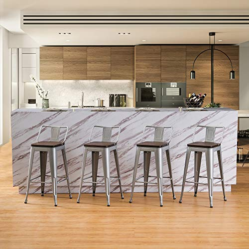 26 Inch Metal Bar Stools Counter Stool Modern Barstools Industrial Bar Stools Set of 4 (26 inch, Silver)