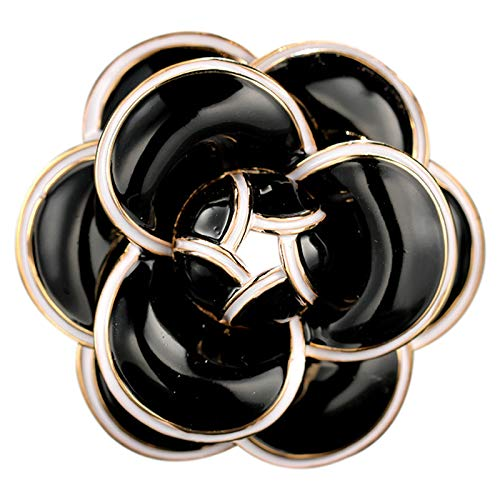 ACAMPTAR Esmalte Camellia Flores Canal Joyería Broches Broches para Mujeres Suéter Vestido Solapa Pins Accessaries para Ropa Negro