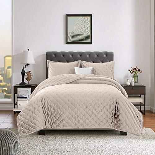 Yorkshire Bedding Gesteppte Tagesdecke Elegant Bett Decken Bettwäsche 220x240 Beige Crushed Velvet Bettüberwurf Mit Passender Kissenbezüge