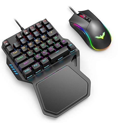 Havit 片手ゲーミングキーボード マウス 2点セット 36キー LEDバックライト 有線 青軸 メカニカル 左手用キーボード RGBゲーミングマウス RK-B20