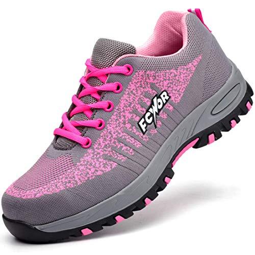 SROTER Unisex Zapatillas de Seguridad con Puntera de Acero Hombre Mujer Zapatos de Trabajo Transpirables Antideslizante Ligeras Comodas Zapatillas de Senderismo Rosa 38 EU ⭐