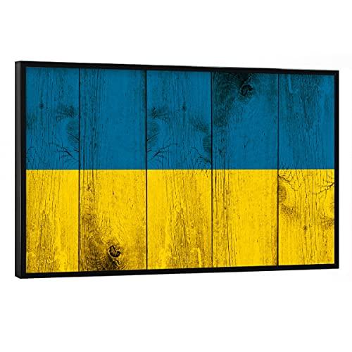 artboxONE Poster mit schwarzem Rahmen 90x60 cm Reise/Länder Ukraine Vintage Flagge - Bild Ukraine Flagge kiew