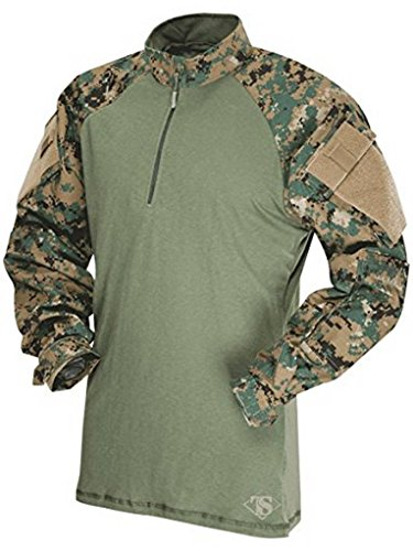 Tru-Spec T.R.U 1/4 Zip Combat Shirt Chemise, Woodland Digital/Olive Drab, L Homme
