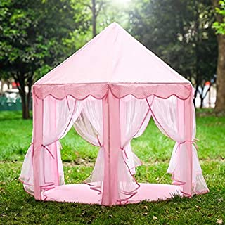 GOJOOASIS Kids Princess Castle Play Tent Toddler Toys Play House w/ Anti-Mosquito & Star Lights (Pink)