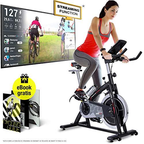 Sportstech Bicicleta estática Profesional SX200 -Marca de Calidad Alemana - Eventos en Video & App Multijugador, Volante de Inercia de 22Kg -Bicicleta con Correa de transmisión -hasta 125Kg con eBook