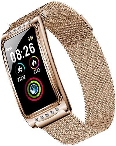 Reloj inteligente, monitor de actividad física, monitor de sueño, pantalla táctil completa, monitor de actividad, impermeable, podómetro, reloj inteligente deportivo (color: azul)-dorado