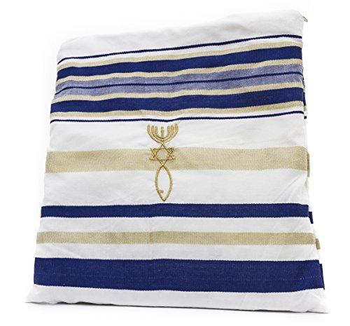 Messianischer Gebetsschal, Messianisches Siegel Zuluf, christliches Symbol, Tallit, Hebräisch, Englisch, ca. 180 cm x 56 cm - HLG020