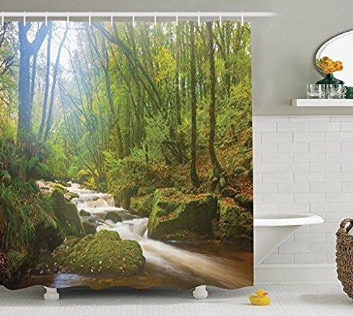 183cm x 183cm Arbre Rideau de douche Woodland Décor par Ormis, Forêt Scène à Golitha Falls Nature Reserve sur la rivière Fowey Cornwall Angleterre Photo, tissu de salle de bain Rideau de douche Ensemble de Vert
