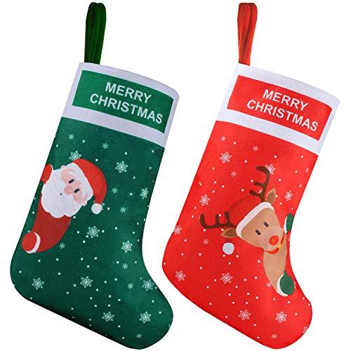EasyAcc Chaussette de Noel, Set de 2 Grandes Xmas Sac Cadeau, Chaussettes Noël a Suspendre Père Noël, Bonhomme de Neige, Renne, Flocon de Neige Décoration Noel Cheminée Sapin Sac de Bonbons