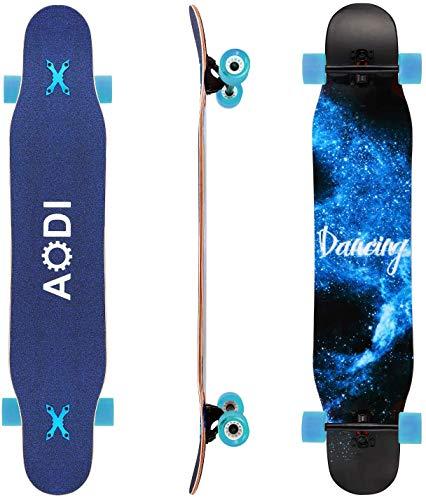AODI 46' Longboard Skateboard Complete 7 Layers Maple Wood Double Kick Concave...