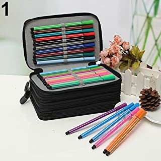 Sanwooden Creative and Fashionable 4 Layers 72 Holes Portable Drawing Sketching Pencil Pen Zipper Case Holder Bag - Black