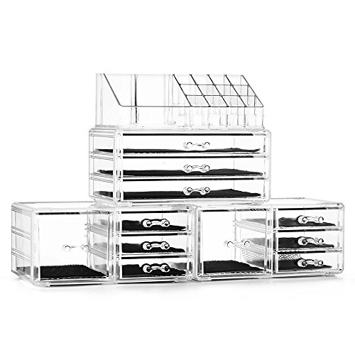 Felicite Home Acrylic Jewelry and Cosmetic Storage Boxes Makeup Organizer Set 4 Piece