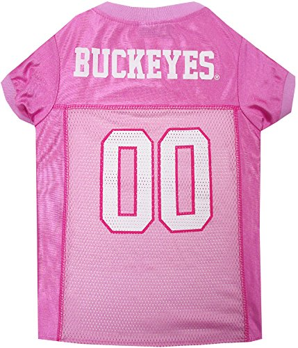 Pets First Collegiate Ohio State Buckeyes Dog Jersey, Large, Pink