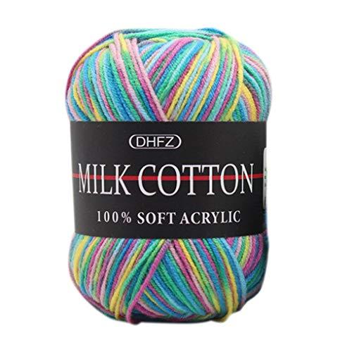 Fornateu 50 g/Colorido de la Bola de 3 Capas de Hilo Hecha a Mano DIY Bufanda Almohada Manta de Crochet Soft Leche Hilo de algodón