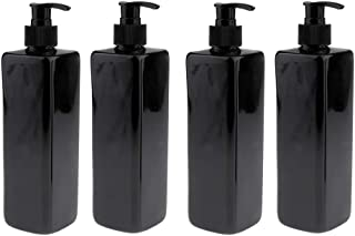 Blesiya 4 Pack of Refillable 500ML Plastic Pump Bottles with Screw On Lotion Pump for Refillable Cosmetic Black