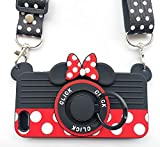for iPhone SE 2016 Case iPhone 5S Case iPhone 5 Case iPhone 5C Case with Lanyard Ring 3D Cute Soft Silicone Cartoon Minnie Mouse Camera Design Phone Case Best Gift for Women/Girls/Kids(4in)