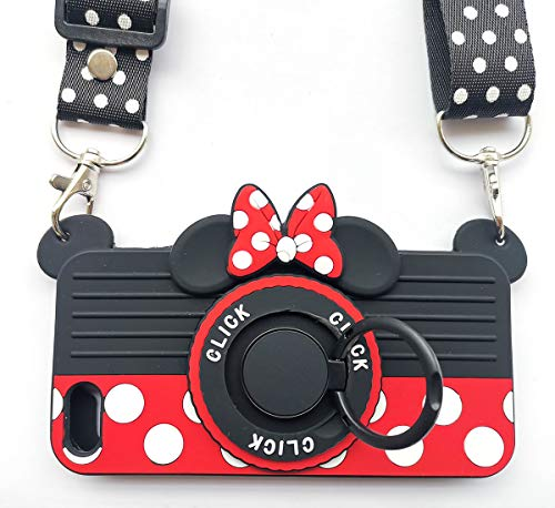 for iPhone 5S Case iPhone 5 Case iPhone 5C Case with Lanyard Ring 3D Cute Soft Silicone Cartoon Minnie Mouse Camera Design Phone Case Best Gift for Women/Girls/Kids(4in)