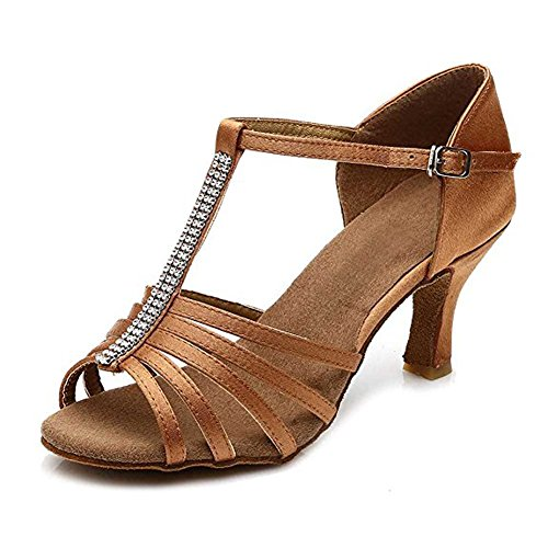 Wgwioo Latin Dance Shoes Leather Soft Soles Buckle Thin High Heels For Salsa Ballroom For Ladies,Brown,38