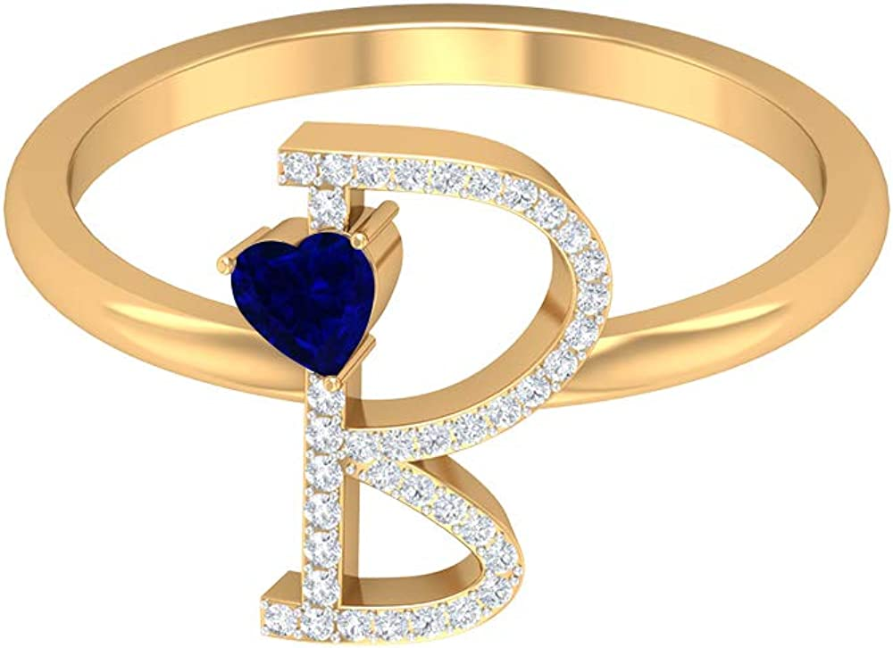 B Initial Ring, 3.50 MM Heart Shaped Blue Sapphire Ring, HI-SI Diamond Cluster Ring, Gold Alphabet Jewelry (AAA Quality), 14K Yellow Gold, Size:US 11.5
