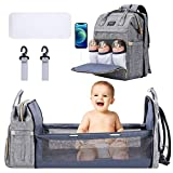 All in 1 Diaper Bag Backpack Foldable Baby Bed, Diapers Changing Station with USB Charging Port, Waterproof Washable Multi-Functional Baby Bassinet Diaper Bag