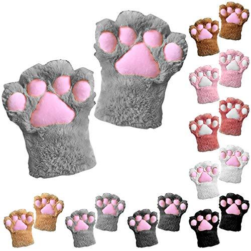 Tianhaik 1 stück frauen mädchen winter handschuhe nette katze pfoten handschuhe comic cosplay handschuhe warm kaltes wetter kunstpelz plüsch handschuhe handschuhe (dunkelgrau)