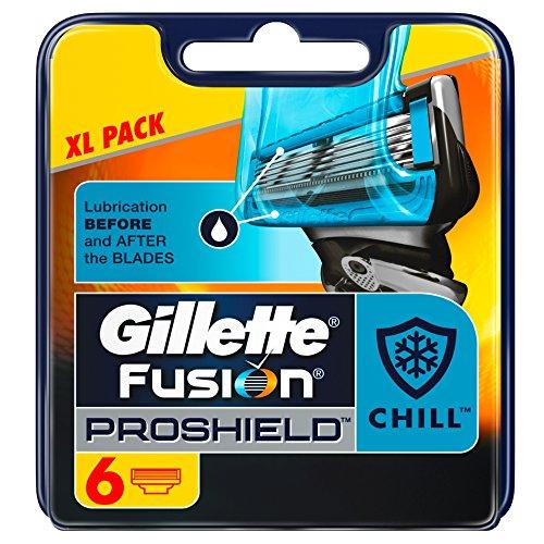 Gillette Fusion Proshield Flexball Chill Cuchillas de Afeitar para Hombre - 6 unidades