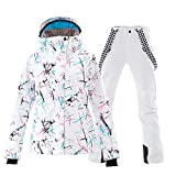 Mous One Women's Waterproof Ski Jacket Colorful Snowboard Jacket and White Bib Pant Suit(S)