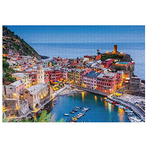 Jigsaw Puzzles for Adult 1000 Piece, Cinque Terre Italy Puzzles for Adults Large Landscape Jigsaw Puzzle for Friends DIY Intellectual Educational Decompressing Toy Fun Family Puzzles Game