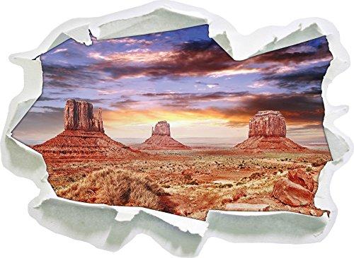 Utah Monument Valley, Papier 3D Taille Sticker Mural: 92x67 cm décoration Murale 3D Stickers muraux Stickers
