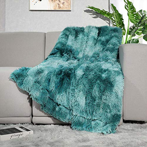 Lvylov Decorative Soft Fluffy Faux Fur Throw Blanket 50' x 60',Reversible Long Shaggy Cozy Furry Blanket,Comfy Microfiber Accent Plush Fuzzy Blanket for Sofa/Couch/Bed,Breathable & Washable,Teal Blue