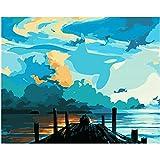 DIY Pintar por números Blue Sky Bridge Lienzo Pintura Arte Imagen decoración del hogar50x40cm(20X16inch) Pintura sin Marco