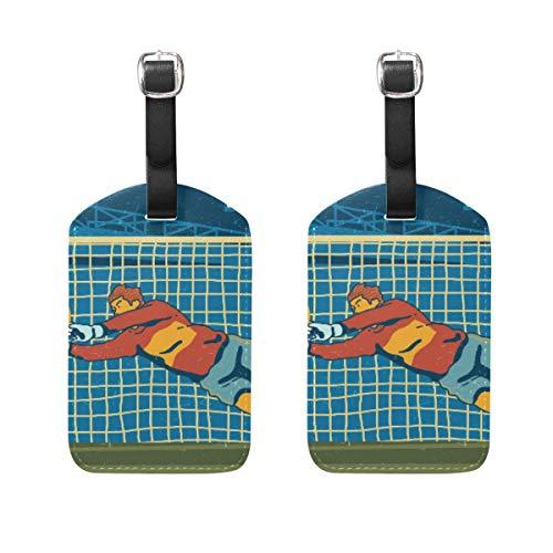 Gepäckanhänger, Motiv: Fußballtoren, 2 Stück, tragbar, für Adresse, Namensschilder, Etikett, Kariert, Reisezubehör für Reisetasche