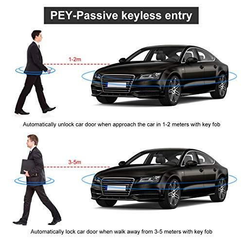 Partol Car Alarm System Smart Key PKE Car Security Alarm Passive Keyless Entry Push Start System Engine Start Stop Push Button Remote Starter Shock Sensor Alarm Universal for Most 12V Cars