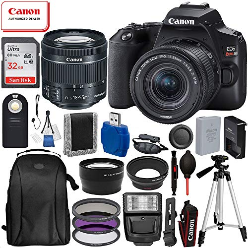 "Canon EOS Rebel SL3 DSLR Camera (Black) with 18-55 IS STM 3453C002 USA 17pc Must Have Bundle: Includes – 32GB SanDisk Highspeed Memory Card + 50"" Tripod + Professional Backpack + 3pc Filter Kit + More"