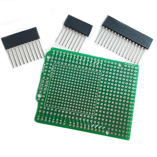 Yintiod Prototype PCB for Arduino UNO R3 Shield Board DIY, Combo 2 mm + 2.54 mm Grid