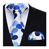 HISDERN Set di fazzoletti da uomo e fazzoletti da taschino con cravatta a pois extra lunghi (beige e blu)