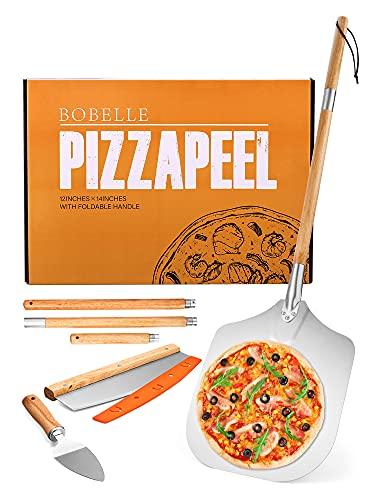 Bobelle Pala per Pizza, Pala per Pizza in Alluminio con Manico Lungo in Legno Antiscivolo ( 64-126cm ), Pala Pizza Set di Alta Qualità per Cuocere Pizza, Pane, BBQ