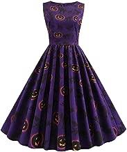 iTLOTL Halloween Pumpkin Print Dress For Women Round Neck Retro Elegant Sleeveless Zipper Dresses
