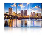 TUMOVO 3 Piece Cityscapes Canvas Wall Art Richmond, Virginia, USA Downtown Skyline on The James River Picture Print On Canvas Stretched for Home Decor Ready to Hang - 28'' x 14'' x 3 Panels