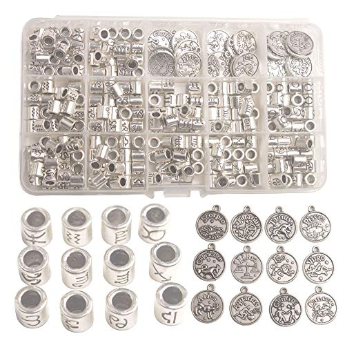 Changjin One Box of 264PCS Antiqued Silver Metal Cylinder Zodiac Beads Sign...