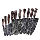 Damasco Cuchillo de cocina 8/7 / 5/3.5 pulgadas Chef japonés Cuchillos de acero inoxidable Set de acero inoxidable Dibujo Slicer Slicer Carne Herramienta de cuchilla Santoku (Color : 8A)