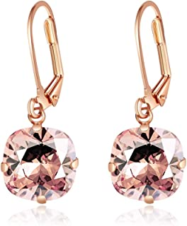 Martine Wester Leverback Drop Earrings Dangles Earrings Made with Swarovski Crystal Gemstone Solitaire Fashion Jewelry for Women