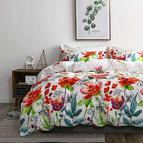 TanNicoor Boho Duvet Cover,Hotel Quality Lightweight Microfiber Bedding Set,Watercolor Floral Plants Pattern Printed on White,Soft Comfortable with Zipper Closure Comforter Cover(3pcs, Queen Size)