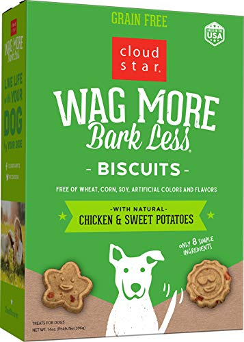 Cloud Star Wag More Bark Less Oven Baked Biscuits, Grain Free Crunchy Dog Treats, with Chicken & Sweet Potatoes -14 oz.