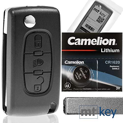 Klapp Schlüssel Gehäuse Funkschlüssel Fernbedienung Autoschlüssel 3 Tasten LICHT VA2 + Batterie kompatibel mit Citroen/Peugeot/FIAT