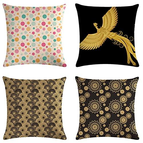 JOVEGSRVA Juego de 4 fundas de cojín decorativas de lino para casa, oficina, sofá, coche, jardín, 45 x 45 cm